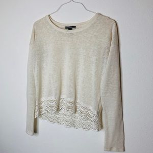 Forever 21 Medium Blouse with lace detail at hem